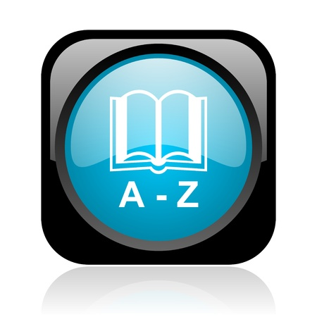 dictionary black and blue square web glossy icon