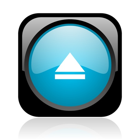 eject black and blue square web glossy icon Stock Photo - 18918096