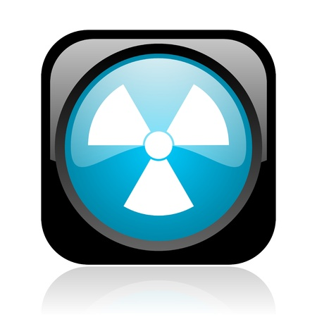 radiation black and blue square web glossy icon Stock Photo - 18918002