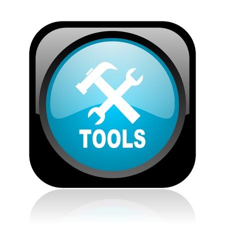 option key: tools black and blue square web glossy icon  Stock Photo