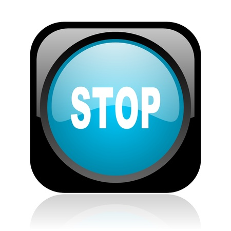 stop black and blue square web glossy icon Stock Photo - 18916752