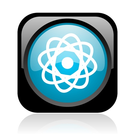 atom black and blue square web glossy icon Stock Photo - 18920941