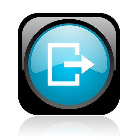 exit black and blue square web glossy icon Stock Photo - 18920821
