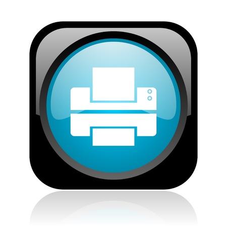 printer black and blue square web glossy icon  photo