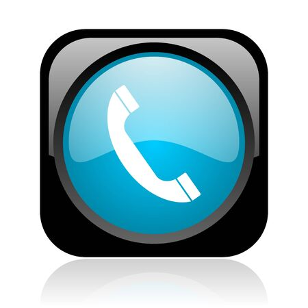 phone black and blue square web glossy icon  photo