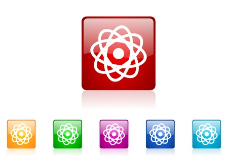 atom square web glossy icon colorful set  photo