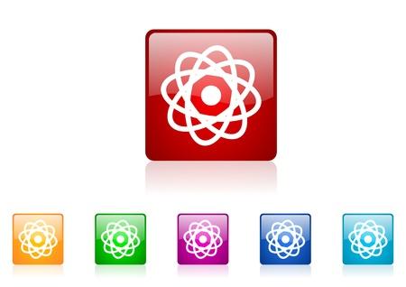 atom square web glossy icon colorful set Stock Photo - 18920928