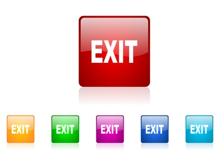 exit square web glossy icon colorful set  photo