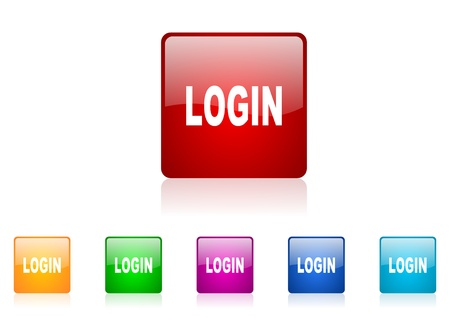 login square web glossy icon colorful set  photo