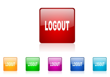 logout square web glossy icon colorful set  photo