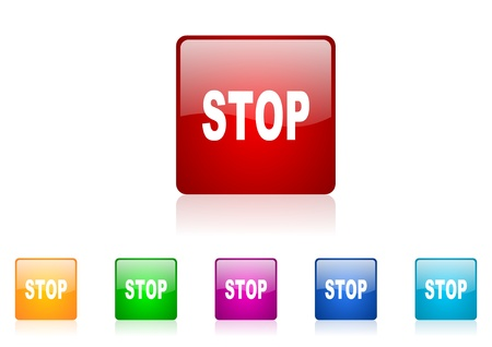 stop square web glossy icon colorful set Stock Photo - 18920777