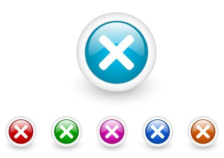 cancel circle web glossy icon colorful set Stock Photo - 18920839