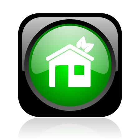 home black and green square web glossy icon  photo