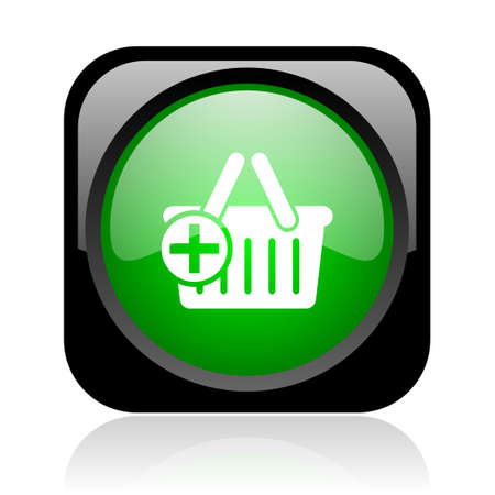 shopping cart black and green square web glossy icon Stock Photo - 18972208