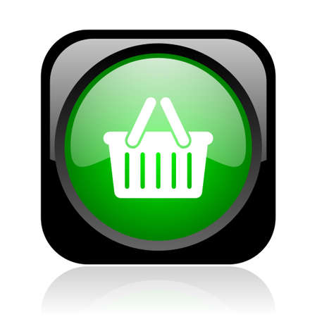 shopping cart black and green square web glossy icon Stock Photo - 18972152