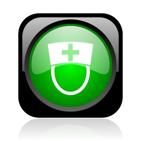 nurse black and green square web glossy icon  photo