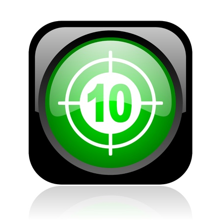 target black and green square web glossy icon Stock Photo - 18972336