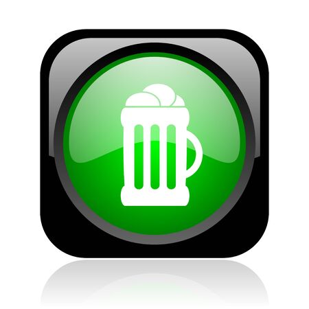beer black and green square web glossy icon  photo