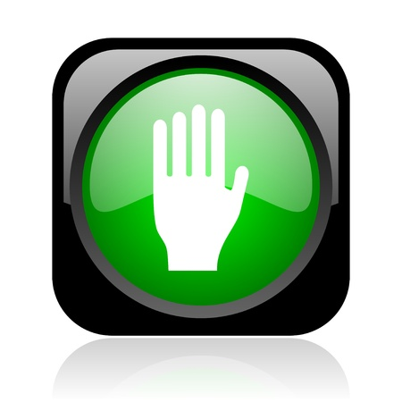 stop black and green square web glossy icon Stock Photo - 18972048