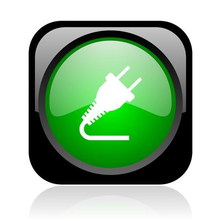 plug electric: plug black and green square web glossy icon
