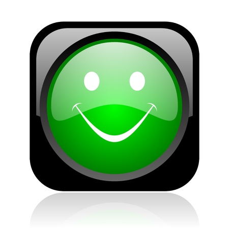 smile black and green square web glossy icon Stock Photo - 18972201
