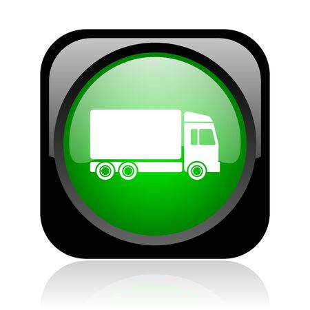 delivery black and green square web glossy icon  photo