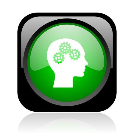head black and green square web glossy icon  photo