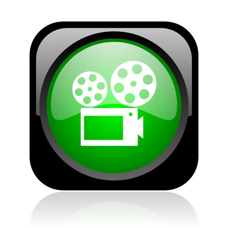cinema black and green square web glossy icon photo