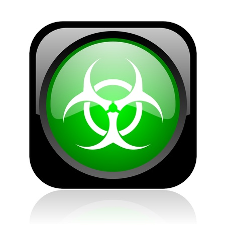 virus black and green square web glossy icon Stock Photo - 18972322