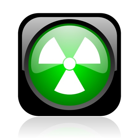 radiation black and green square web glossy icon Stock Photo - 18972078