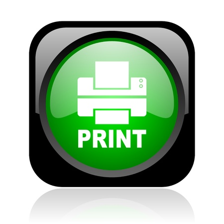 print black and green square web glossy icon  photo