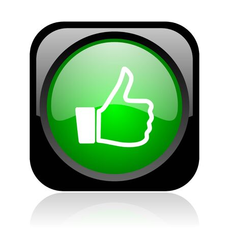 thumb up black and green square web glossy icon Stock Photo - 18972185