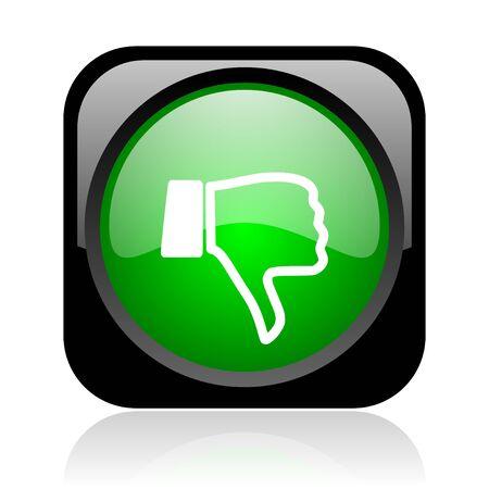 pulgar abajo: el pulgar hacia abajo icono web negro y verde brillante cuadrado Foto de archivo