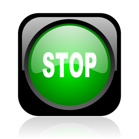 stop black and green square web glossy icon Stock Photo - 18972144