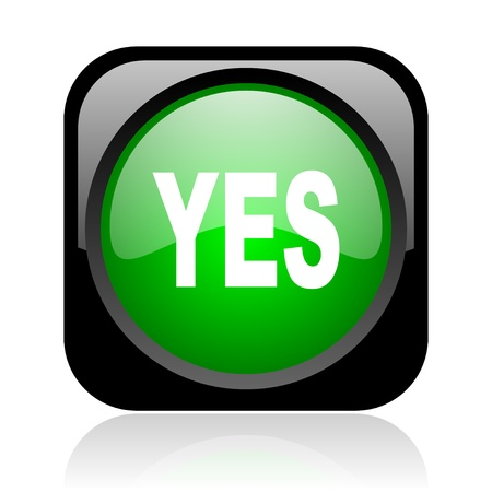 yes black and green square web glossy icon Stock Photo - 19004338
