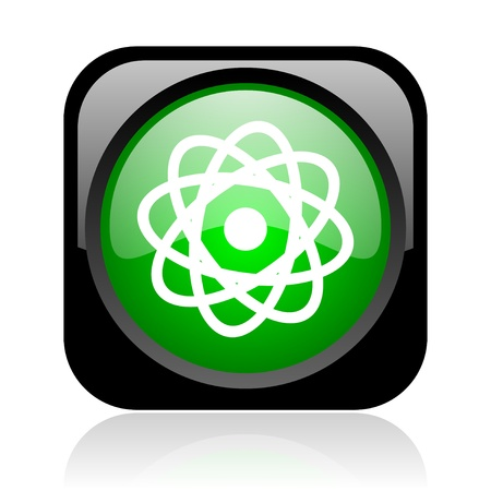 atom black and green square web glossy icon Stock Photo - 19004483