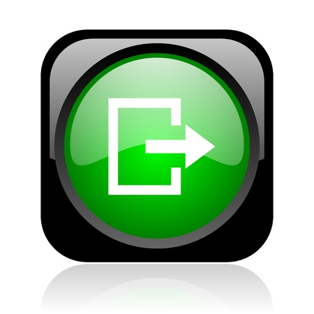 exit black and green square web glossy icon Stock Photo - 19004288
