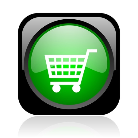 shopping cart black and green square web glossy icon Stock Photo - 19004384