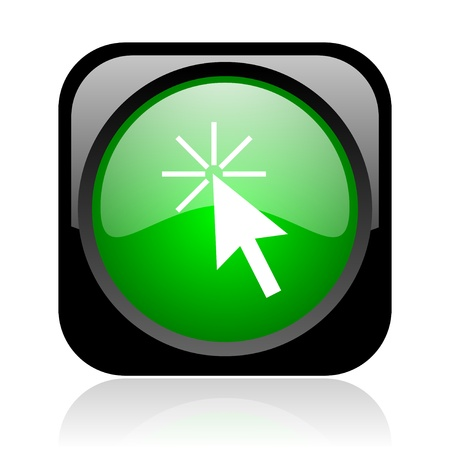 click here black and green square web glossy icon  photo