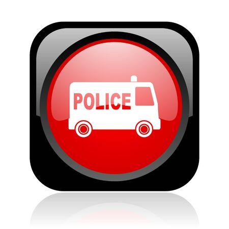 警察の黒と赤の広場 web 光沢のあるアイコン