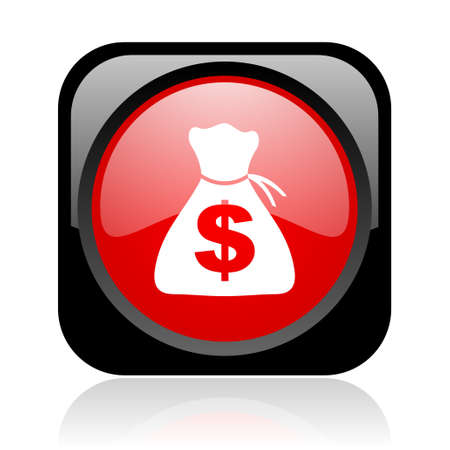 money black and red square web glossy icon  photo