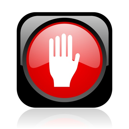 stop black and red square web glossy icon