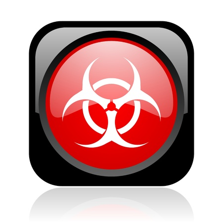 virus black and red square web glossy icon  photo