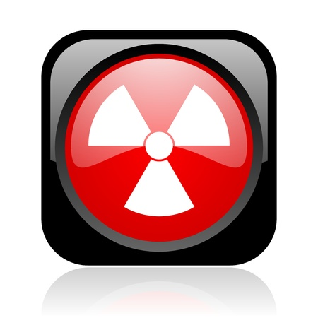 radiation black and red square web glossy icon Stock Photo - 19003896