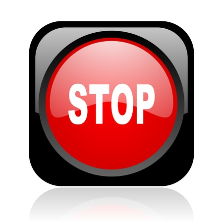 proscribed: stop black and red square web glossy icon