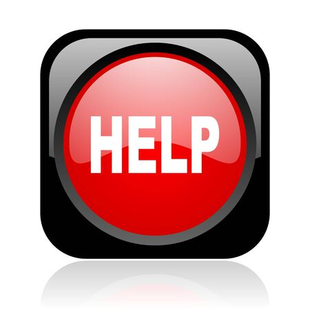 help black and red square web glossy icon Stock Photo - 19003814