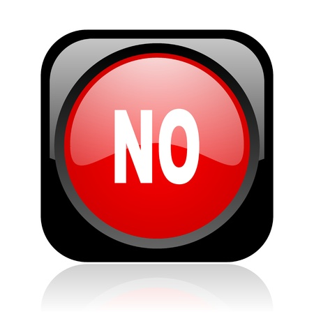 no black and red square web glossy icon Stock Photo