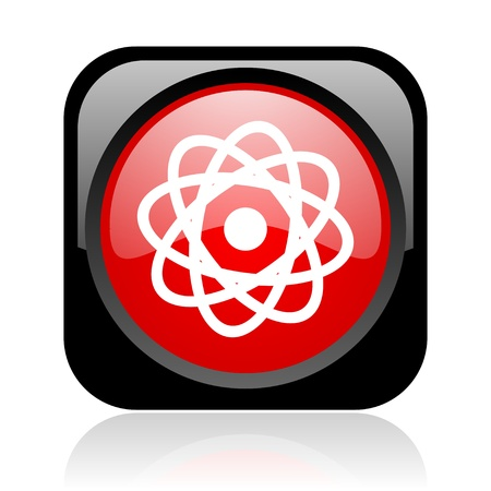 atom black and red square web glossy icon Stock Photo - 19004401