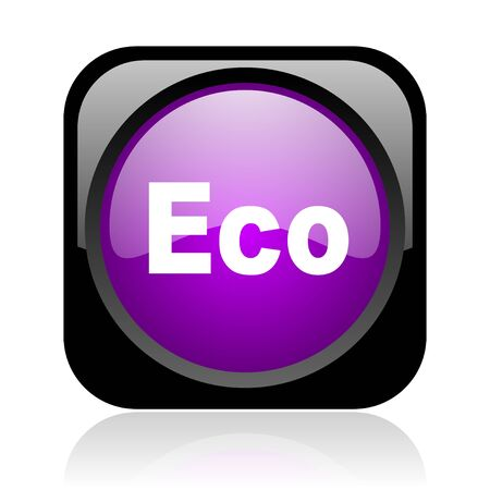eco black and violet square web glossy icon  photo