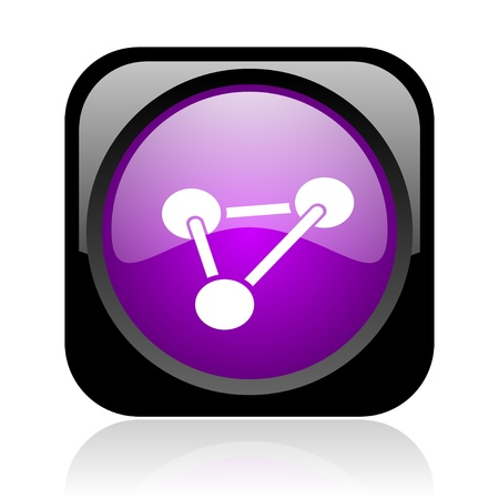 chemistry black and violet square web glossy icon  photo